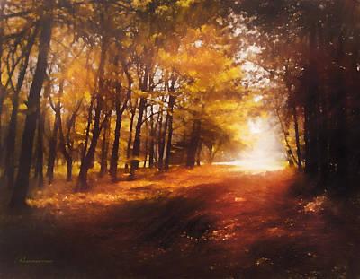 Impressionistic Landscape Mixed Media - Four Seasons Autumn Impressions At Dawn by Georgiana Romanovna