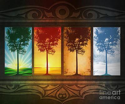 Mural Mixed Media - Four Seasons by Bedros Awak