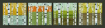 Birch Trees Painting - Four Seasons by Michelle Calkins