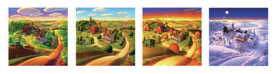 Seasonal Painting - Four Seasons On The Farm by Robin Moline
