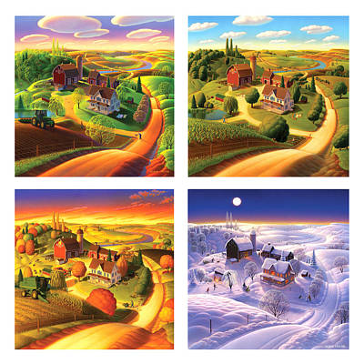 Folk Realism Painting - Four Seasons On The Farm Squared by Robin Moline