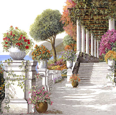 four seasons-summer on lake Como Art Print by Guido Borelli