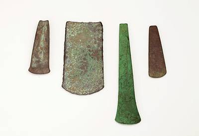Four Simple Copper Age Flat Axe Celts Print by Paul D Stewart