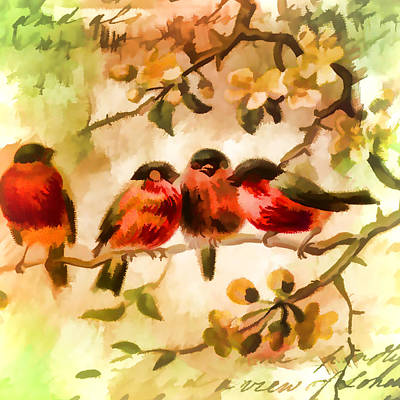 Painting - Four Songbirds by Bonnie Bruno