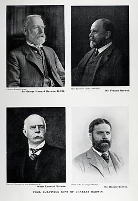 Four Sons Of Charles Darwin Print by Paul D Stewart