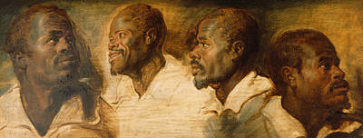 African-american Painting - Four Studies Of Male Head by Peter Paul Rubens