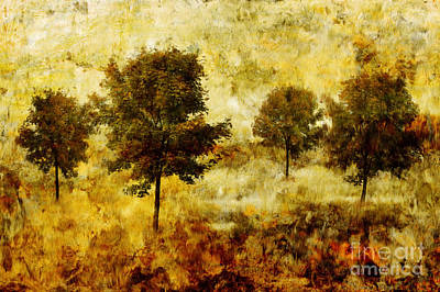 Painted Image Painting - Four Trees by John Edwards