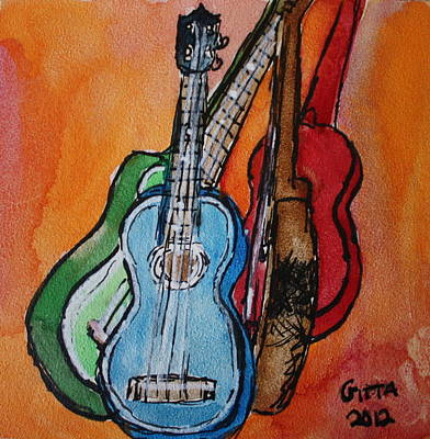 Four Ukuleles Art Print
