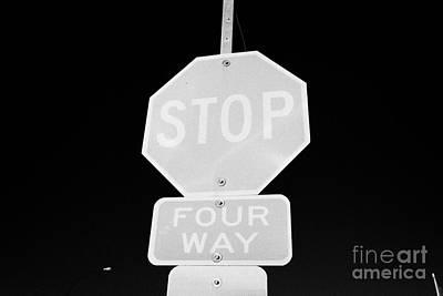 four way stop sign with crosswalk Canada Print by Joe Fox