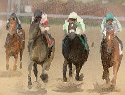 Digital Art - Four Wide In The Stretch by Dennis Buckman
