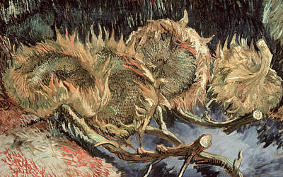 Stalk Painting - Four Withered Sunflowers by Vincent van Gogh