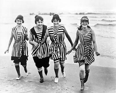 One Piece Swimsuit Photograph - Four Women In 1910 Beach Wear by Underwood Archives