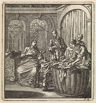 House Plant Drawing - Four Women Next To A Laundry Basket, Jan Luyken by Jan Luyken And Wed. Pieter Arentsz & Cornelis Van Der Sys (ii)