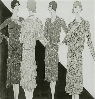 Chine Digital Art - Four Women Wearing Summer Dresses by  Lambarri