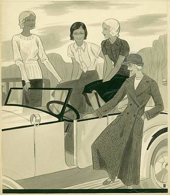 Four Women With A Car Art Print by Artist Unknown