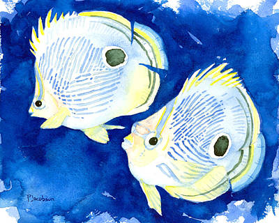 Painting - Foureye Butterflyfish by Pauline Walsh Jacobson