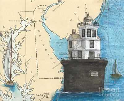 New England Lighthouse Painting - Fourteen Ft Bank Lighthouse De Nautical Chart Map Art by Cathy Peek