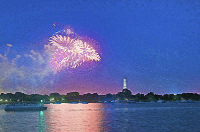 Digital Art - Fourth Of July Fireworks Along The Potomac by Steven Barrows