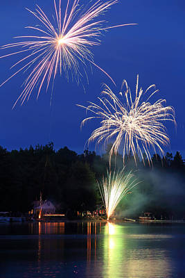 Photograph - Fourth Of July Fireworks At The Lake by Barbara West
