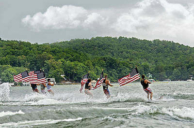 Fourth Of July Water Skiers Art Print by Susan Leggett