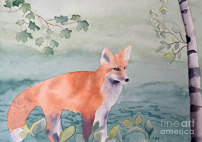 Fox And Birch Art Print