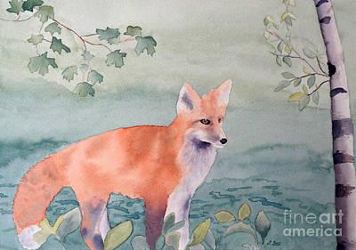 Fox And Birch Art Print by Laurel Best