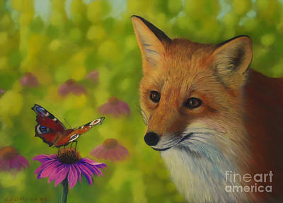 Colorful Contemporary Pastel - Fox And Butterfly by Veikko Suikkanen
