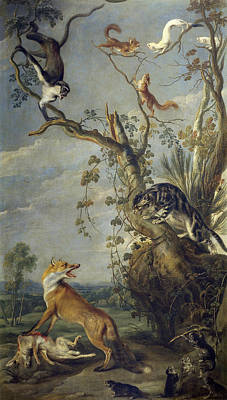 Frans Snyders Painting - Fox And Cat by Frans Snyders