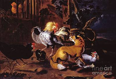 Fauna Painting - Fox And Poultry by Pg Reproductions