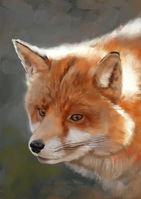 Fox Digital Art - Fox by Arie Van der Wijst