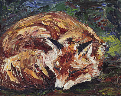 Fox Asleep Art Print