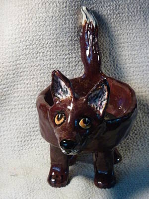 Customcrittersbydeb Sculpture - Fox Dish Made In Usa From A Lump Of Clay One Of A Kind by Debbie Limoli