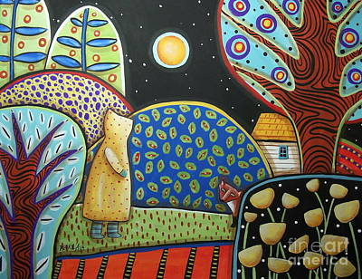 Folk Art Painting - Fox Encounter by Karla Gerard