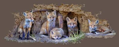Fox Family Of Wabamun II Print by Reg Faulkner