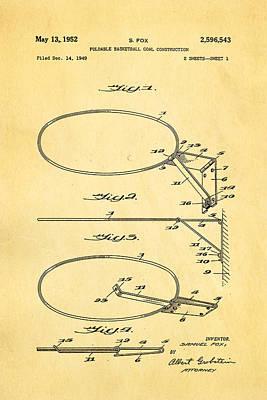 Basket Ball Game Photograph - Fox Foldable Basketball Goal Patent Art 1952 by Ian Monk