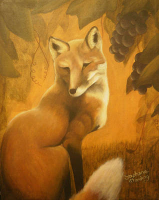 Vixen Painting - Fox Grapes by Stephanie Harding