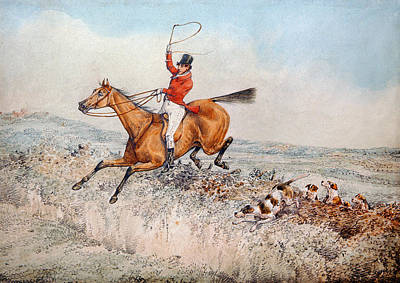 Running Horses Drawing - Fox Hunting by Henry Thomas Alken