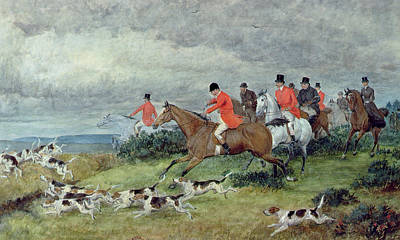 English Horse Painting - Fox Hunting In Surrey by Randolph