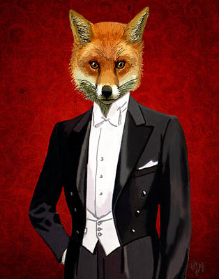 Fox In A Evening Suit Art Print by Kelly McLaughlan