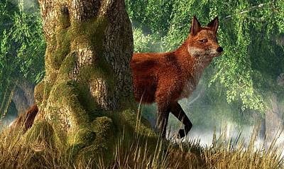 Fox In A Forest Art Print
