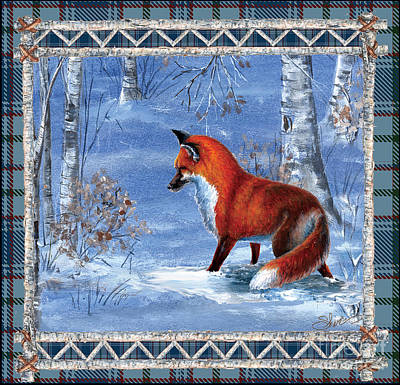 Mixed Media - Fox In The Birch Woods by Sher Sester