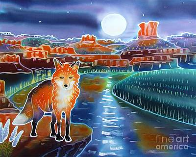 Wildlife Landscape Painting - Fox In The Moonlight by Harriet Peck Taylor