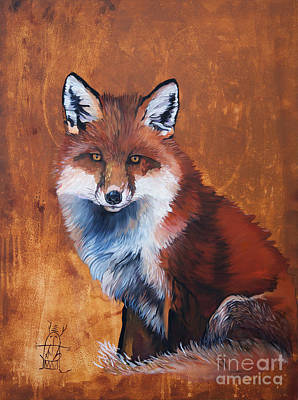 Painting - Fox by J W Baker