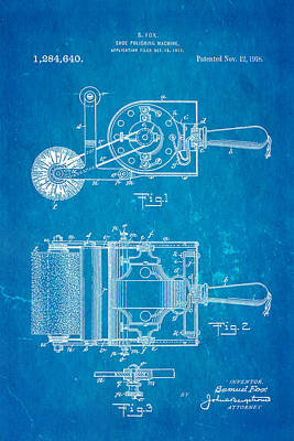 Fox Shoe Polishing Machine Patent Art 1917 Blueprint Art Print