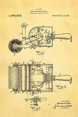 Fox Shoe Polishing Machine Patent Art 1917 Art Print