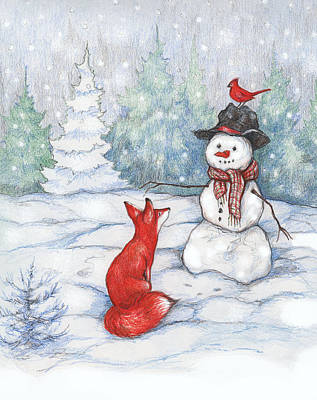 Red Fox Painting - Fox Snowman And Cardinal by Peggy Wilson