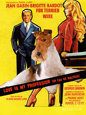 Painting - Fox Terrier - Wire Fox Terrier Art Canvas Print - Love Is My Profession Movie Poster by Sandra Sij