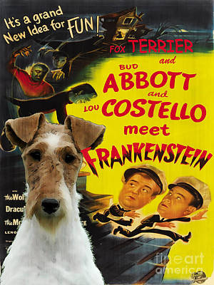 Painting - Fox Terrier - Wire Fox Terrier Art Canvas Print - Meet Frankenstein Movie Poster by Sandra Sij