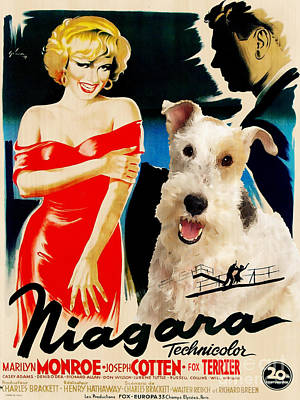 Painting - Fox Terrier - Wire Fox Terrier Art Canvas Print - Niagara Movie Poster by Sandra Sij