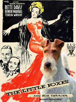 Wire Fox Terrier Painting - Fox Terrier - Wire Fox Terrier Art Canvas Print - The Little Foxes Movie Poster by Sandra Sij